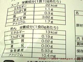 ダイエット寒天ラーメン 栄養成分・カロリー